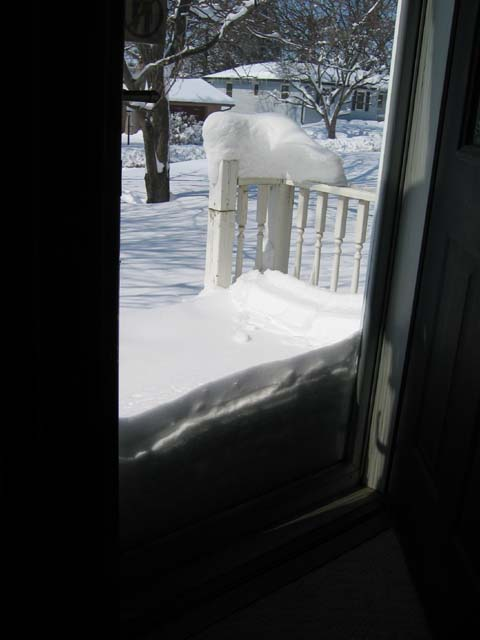 Snow on the front porch